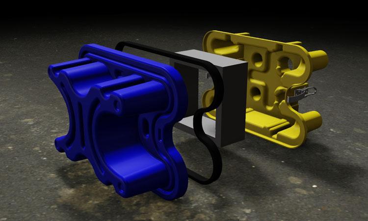 Conap 3D CAD Services - Gerendertes CAD Modell eines Filtergehäuses in Explosionsdarstellung