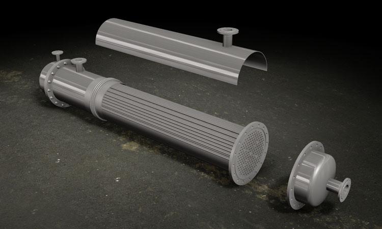 Conap 3D CAD Services - Gerendertes CAD Modell eines Rohrkondensators in Explosionsdarstellung