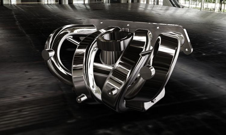 Conap 3D CAD Services -Gerendertes CAD Modell eines Saugsystems eines Ottomotors in Chrom