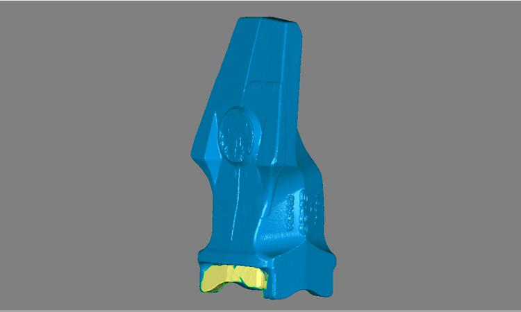 Conap 3D Qualitätskontrolle - Polygonflächenmodell eines Schaufelzahns