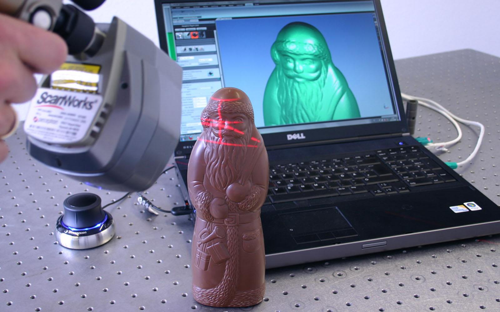 Conap 3D Qualitätskontrolle - Scan eines Schokoladen weihnachtsmannes