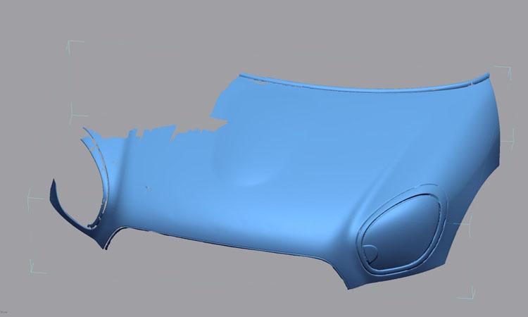 Conap 3D Reverse Engineering - Polygonflächenmodell einer Motorhaube