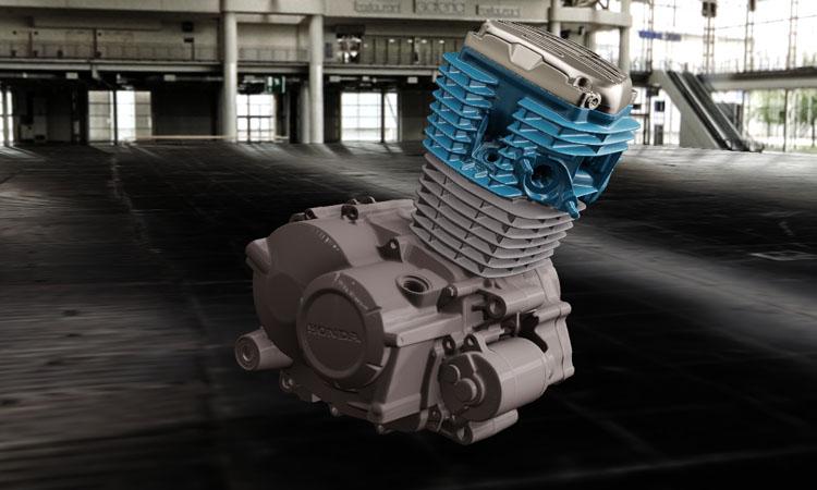 Conap 3D CAD Services - Gerendertes Modell des Motors einer Honda 125ccm