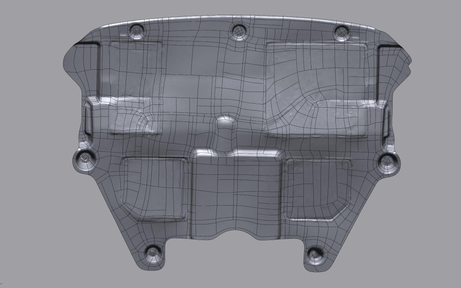 Conap 3D Reverse Engineering - Polygonflächenmodell einer PKW Untermotorverkleidung