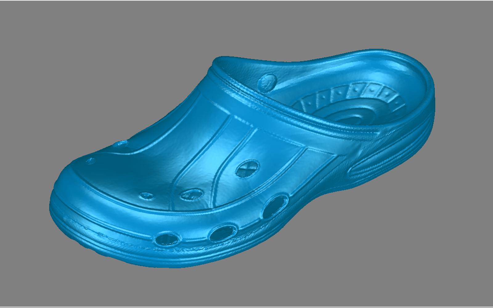 Conap 3D Reverse Engineering - Croc Schuh auf dem Messtisch