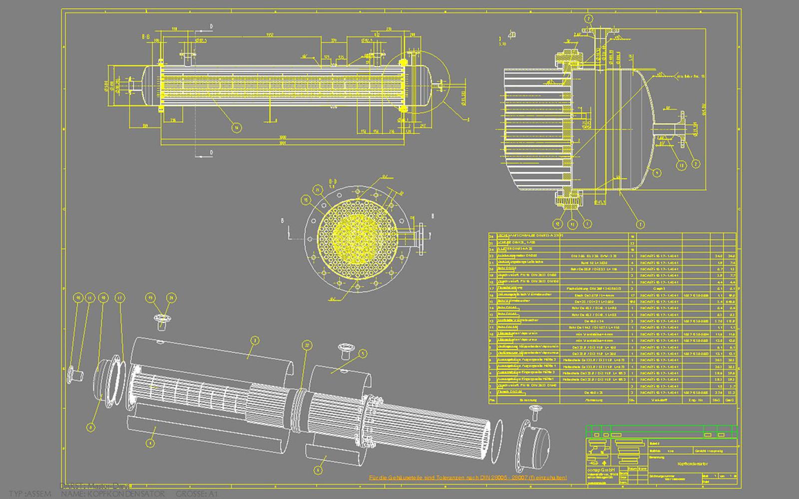Conap CAD Konstruktionsbüro - CAD Modell eines Rohrkondensators