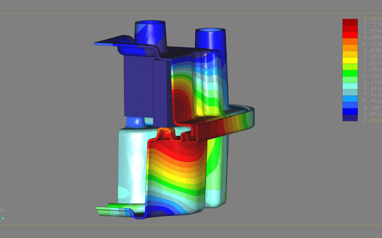 Conap FEM Berechnung - FEM Modell eines Gehäuseteils mit Fehlfarbenberechnung