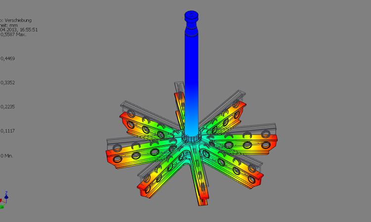 Conap FEM Berechnung - FEM Modell eines Traggestells mit Fehlfarbenberechnung