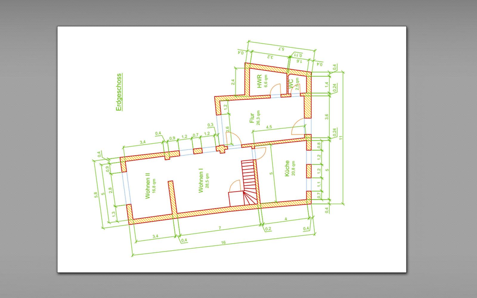 Conap 3D Scanning Services - 3D Scan eines Bauernhauses mit Maßen